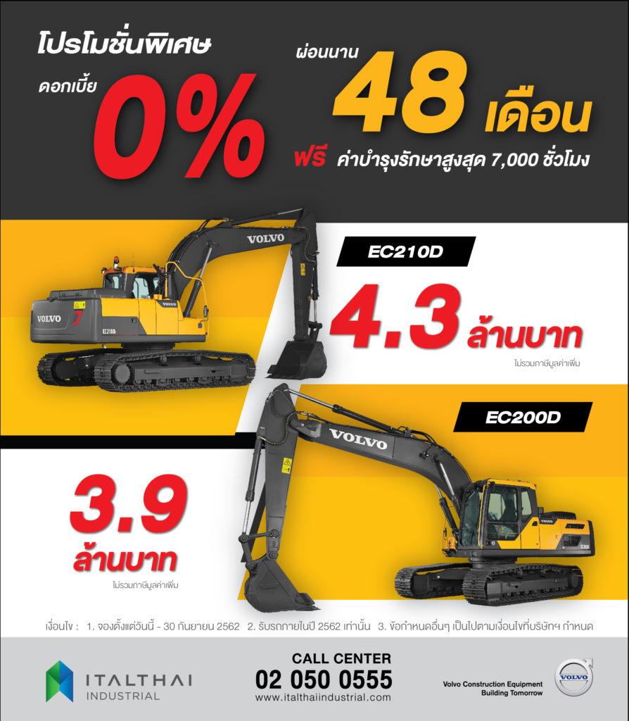 Promotion 2019 - VOLVO Excavator EC200D & EC210D - Italthai